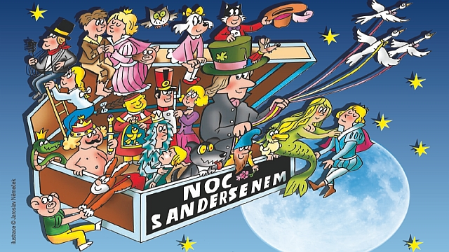Patronem 17. ročníku Noci s Andersenem jsou hrdinové Čtyřlístku a jejich výtvarník Jaroslav Němeček (detail plakátu)